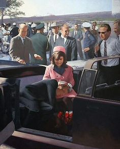In a painting of the scene outside Parkland Hospital on Friday, 11/22/63…