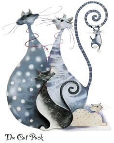 The Cat Pack Art Print by Marilyn Robertson