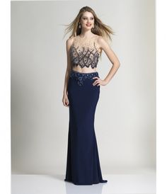 Dave & Johnny 2317 Navy Sleeveless Embellished Two Piece Dress 2016 Prom Dresses