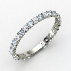diamond and aquamarine wedding band