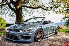 #VW #Volkswagen #Eos #Scirocco #R36 #KTS #Karosserietechnik #Wörthersee #2015 #Projekt Eos R36 #Custom #Modified #Slammed #Bagged #Tucked #Stance #Show Car #Rare Grey (This is a VW Eos with a Scirocco R36 Front end. Heavily modified for a hardcore VW fan at the 2015 Wörthersee.)