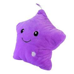 LED Light Plush Smiling Star Cushion Pillow