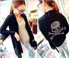 Comfortable Skull Head Shawl Sweater Knit Loose Top Cardigan for Women