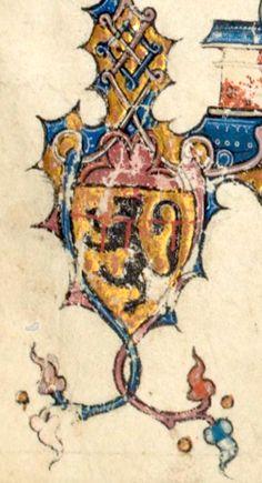 Armes de Jean II [de Dampierre], sgr de Saint-Dizier, Vignory et L'Ecluse, ép. avant 1319 Alix de Nesle avec laquelle il eut une fille prénommée Isabelle (f°1r) -- Frédéric II de Hohenstaufen, «Traité de fauconnerie» [De arte venandi cum avibus], traduction française faite à la demande de Jean, sieur de Dampierre et de Saint-Dizier, et de sa fille Isabelle, enluminé par Simon d'Orliens, France, 1310 (BNF, Ms. Fr 12400]