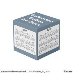 2017-2020 Slate Gray Small Calendar Cube by Janz