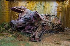 The latest street art creations from theBig Trash Animals project by Portuguese artistArtur Bordalo, aka Bordalo II, whocontinues to transform garbage and
