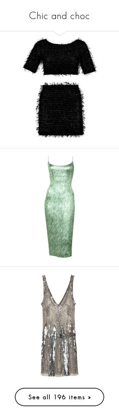 """""""Chic and choc"""" by justine-verlinden ❤ liked on Polyvore featuring dresses, set, tops, bottoms, skirts, vestidos, balmain, brown sequin dress, pierre balmain dress and sequin embellished dress"""
