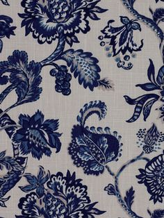 Designer Upholstery Fabric - Navy Floral Cotton Fabric. $32.00, via Etsy.