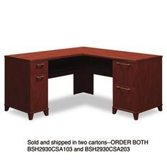 """NEW - 60""""W x 60""""D L-Desk (Box 2 of 2) Enterprise: Harvest Cherry - 2930CSA203 by Bush. $344.72. 24. Durable melamine surfaces are dent- and scratch-resistant. Drawers operate on full-extension ball bearing slides; file drawers accommodate letter and legal size files. Integrated 4-port USB hub. Convenient wire management. Three-quarter height modesty panel. Leveling glides help compensate for uneven flooring. Compartment with door beneath box drawer can accommodate CPU. Color: Ha..."""