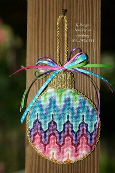 Multicolor needlepoint ornament
