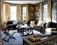 "Chocolate-colored velvet sofas in a room with these formal window treatments and walls - this family room (belonging to Ali Wentworth & George Stephanopoulos) is ""cozy yet sophisticated"""