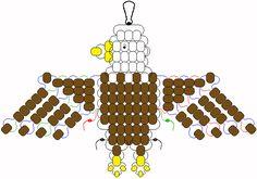* eagle pattern for pony beads Pony Bead Projects, Pony Bead Crafts, Beaded Crafts, Beaded Ornaments, Wire Crafts, Beading Projects, Pony Bead Patterns, Craft Patterns, Beading Patterns