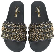Get the must-have mules of this season! These Chanel Black Tropiconic Cc Tweed Chain Mules/Slides Size EU 37 (Approx. US Regular (M, B) are a top 10 member favorite on Tradesy. Save on yours before they're sold out! Chanel Mules, Chanel Sandals, Chanel Brand, Chanel Logo, Black Sandals, Black Heels, Chanel Slides, Tweed, Black Leather