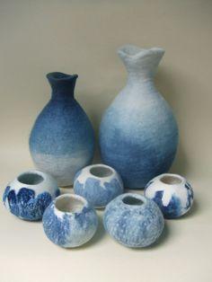 Set of felt vessels dyed with indigo, inspired by Japanese sake set