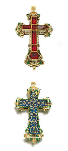 GOLD, ENAMEL AND PASTE PECTORAL CROSS, 16TH CENTURY.  Designed as a pectoral cross set with red foiled paste stones and decorated to the front and reverse with translucent and opaque enamels with strap work design.