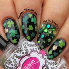 But how cute are the baby claws? I always tell myself not to get carried away with the crystals, but I always do anyways. I may as well have covered my entire ring finger. Green Nail Designs, Holiday Nail Designs, Cute Nail Designs, Holiday Nails, Matte Nails, Glitter Nails, St Patricks Day Nails, Sinful Colors, Diamond Nails