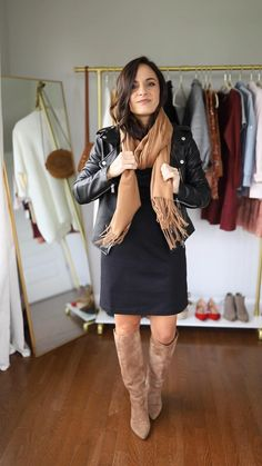 Black Dress Outfits, Casual Winter Outfits, Stylish Outfits, Dress Casual, Winter Dress Outfits, Dress Black, Mode Outfits, Fashion Outfits, Fashion Fall