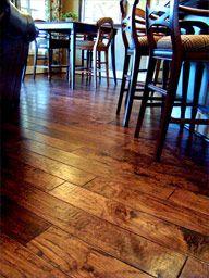 hand scraped hickory wood floors - yum!