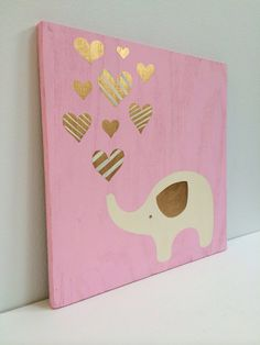 Hey, I found this really awesome Etsy listing at https://www.etsy.com/listing/202123854/hand-painted-gold-and-pink-girls-wall