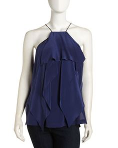 Pleated Silk Top, Navy by Robert Rodriguez at Last Call by Neiman Marcus.