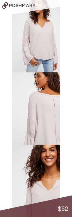Free People Dahlia Thermal NWT. Free People Dahlia Thermal in Grey. Long Sleeved Featuring Bell Shaped Sleeves. Front Vent at Neckline. Ultra Soft and Stretchy Fabrication. Relaxed Fit. Free People Tops