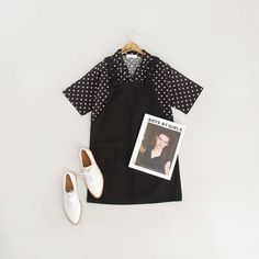 Monochrome for when the weather cant make up its mind, Apron Dress, Oxford Point Shoes and Polka Dot Mini Shirt. Online and in store.🕶👟 #monochrome #oliveclothing