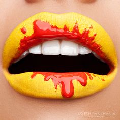 Lip-art is getting more and more popular every day.In this post are some lip-art creations do. Orange Lips, Purple Lips, Red Lips, Yellow Lipstick, Orange Red, Makeup Art, Lip Makeup, Glitter Makeup, Lipstick Art