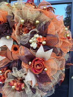 Autumn Ruffle Design Deco Mesh Wreath in by DecoWreathByLinda