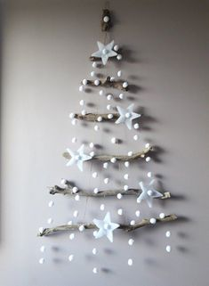 Diy Wall Christmas Tree Ideas Home Ideas Driftwood Christmas Tree, Wall Christmas Tree, Rustic Christmas, Simple Christmas, Christmas Ornaments, Etsy Christmas, Xmas Tree, White Christmas, Vintage Christmas