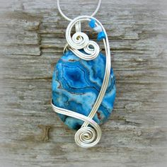 Blue Crazy Lace Agate Wire Wrapped Pendant Necklace in Silver by CareMoreCreations.com  #handmade #jewelry