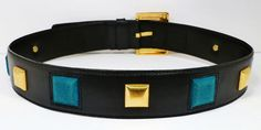 Vintage ESCADA Black Leather Belt with Gold and Teal Blue Suede Squares Size 38 | eBay