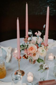 Taper candle wedding centerpiece - blush floral wedding centerpiece - Check out more woodland wedding decor ideas on WeddingWire! {One Flower By L} Small Flower Centerpieces, Small Flower Arrangements, Candle Arrangements, Candle Wedding Centerpieces, Wedding Arrangements, Wedding Decorations, Floral Wedding, Wedding Flowers, Small Candles