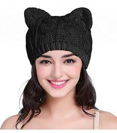 Cat Hat,V28 Women Girl Vintage Fashion Knit Crochet Beanie Ear Winter Cap Hats(black)