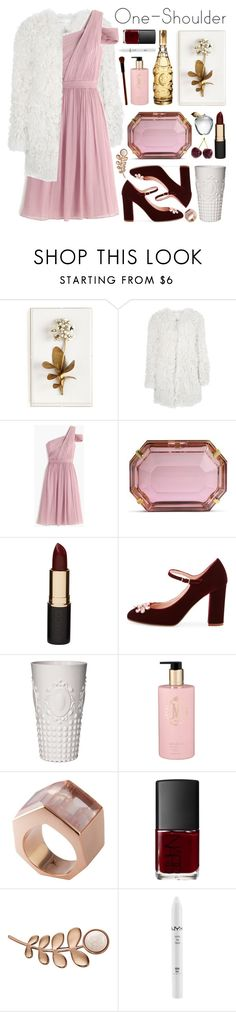"""party style: one-shoulder dress"" by jesuisunlapin ❤ liked on Polyvore featuring Tommy Mitchell, Étoile Isabel Marant, J.Crew, Charlotte Olympia, Mimco, Kate Spade, Baci, Mor, Kattri and NARS Cosmetics"