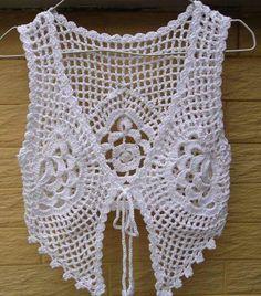 White Crochet Tie Front Crop T