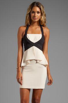 BCBGMAXAZRIA Peplum Dress in Cream Combo from REVOLVEclothing