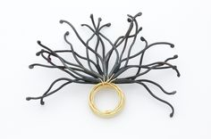 Rui Kikuchi  Physis Ring (From Valerie's Father)  Old steel nails, 18K gold  4cm width  2010 (jewelry with nails)