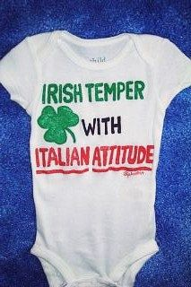 Items similar to Irish Italian Baby One Piece, Irish Temper Italian Attitude Baby Bodysuit, St Patricks Day Baby, St Paddys Day, Irish Baby Clothes on Etsy Funny Baby Clothes, Funny Babies, Cute Babies, Italian Baby, Irish Baby, St Paddys Day, Baby Fever, Future Baby, Baby Bodysuit