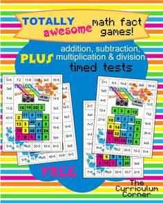 80s Themed Mixed Math Facts Games PLUS addition, subtraction, multiplication and division timed tests FREE from The Curriculum Corner