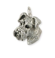 Sterling Silver Natural Ear Schnauzer Charm Jewelry -SN32C