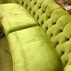 My fab new couch- super steal from the ReStore: it's super soft velvet with no wear for $50!! #vintage #tufted #sofa