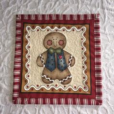 Christmas Gingerbread Boy Mug Rug by KeriQuilts on Etsy