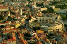 Pula           The largest town on the Istrian peninsula offers a diversity of attractions to lovers of culture. The rich itinerary of its three thousand year old history, where every step you take through the old town is a landmark, begins and ends with the Roman amphitheatre. A unique experience will be moments of relaxation in the main town square, which has managed to retain its role as the meeting place since the Augustan Age.