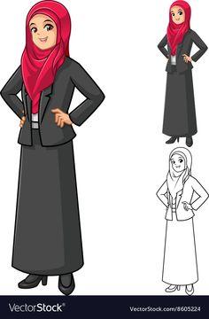 Islamic Cartoon, Hands On Hips, Girls Hand, How To Wear Scarves, Art Activities, Girl Cartoon, Cartoon Characters, Business Women, Asian Beauty