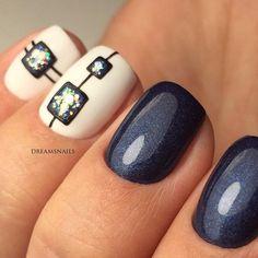 Beautiful Nail Designs To Finish Your Wardrobe – Your Beautiful Nails Simple Nail Art Designs, Beautiful Nail Designs, Cute Nail Designs, Blue Nails, My Nails, Glitter Nails, Geometric Nail, Creative Nails, Fabulous Nails