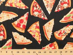 Cotton Pizza Slice Pizza Types Food Black  Cotton Fabric Print by the Yard (gm-c1979)