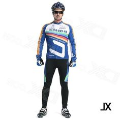 Inbike Mens Cycling Long Jersey Top + Padded Pants Set - White + Blue + Multi-colored (XL)