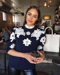 """eecbd7ee895ab6 Olivia Culpo on Instagram  """"Cozy in my  VictoriaBeckham for  Target sweater  😊"""