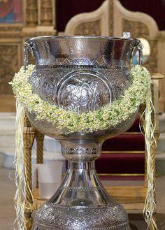 ::Chamomile garland for the font Christening Photos, Christening Decorations, Deco Floral, Greek Wedding, Punch Bowls, Event Planning, Floral Arrangements, Garland, Fonts