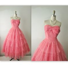 50s Prom Dress // Vintage 1950s Coral Tulle by TheVintageStudio, $154.00